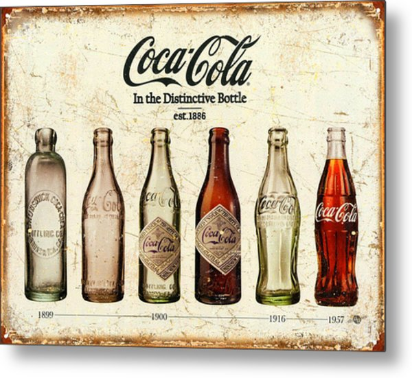 Coca-cola Bottle Evolution Vintage Sign Metal Print