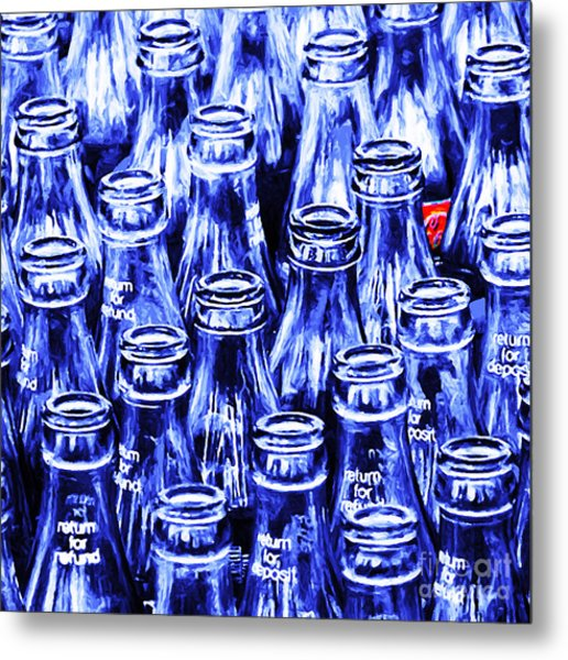 Coca-cola Coke Bottles - Return For Refund - Square - Painterly - Blue Metal Print