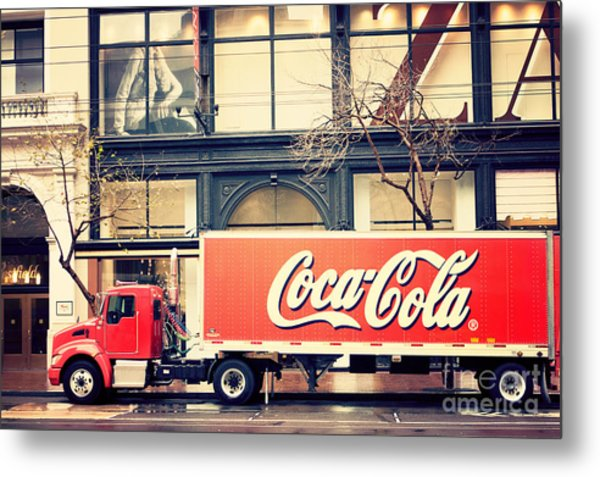 Coca-cola Truck In San Francisco Metal Print
