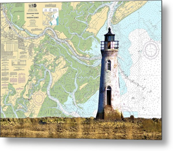 Cockspur On Navigation Chart Metal Print