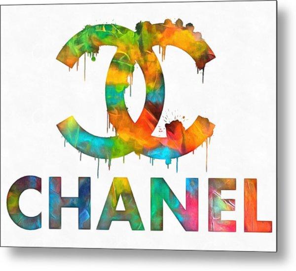 Coco Chanel Paint Splatter Color Metal Print