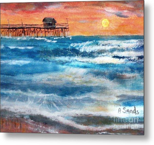 Cocoa Beach Pier Sunrise Metal Print