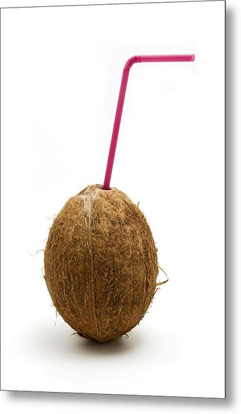 Coconut With A Straw Metal Print
