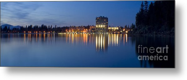 Coeur D Alene Night Skyline Metal Print