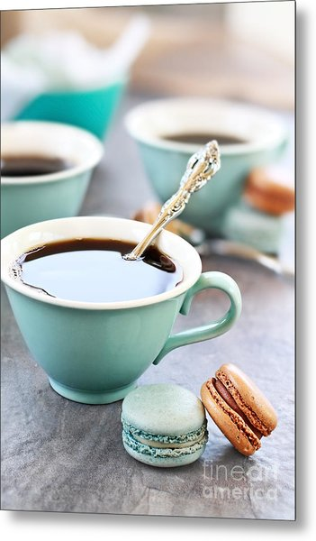 Coffee And Macarons Metal Print