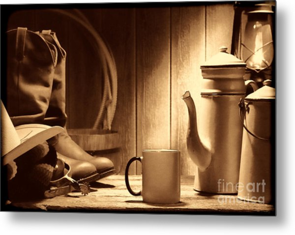 Coffee At The Ranch Metal Print