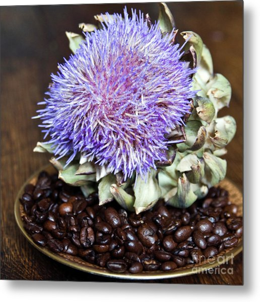 Coffee Beans And Blue Artichoke Metal Print