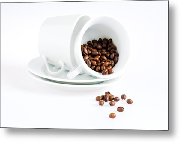 Coffee Cups And Coffee Beans  Metal Print