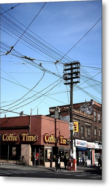 Coffee On The Corner Metal Print by Kreddible Trout