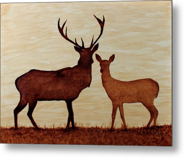 Coffee Painting Deer Love Metal Print