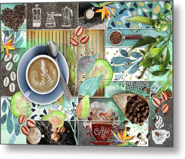 Coffee Shop Collage Metal Print