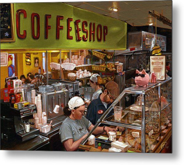 Coffee Shop Metal Print by Ted Papoulas