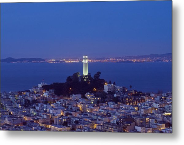 Coit Tower At Dusk San Francisco California Metal Print by Carol M Highsmith