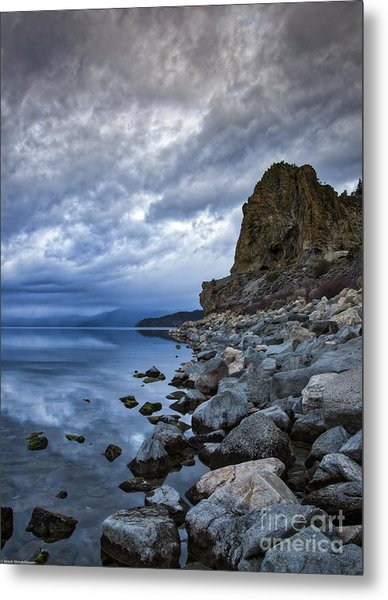 Cold Blue Cave Rock Metal Print