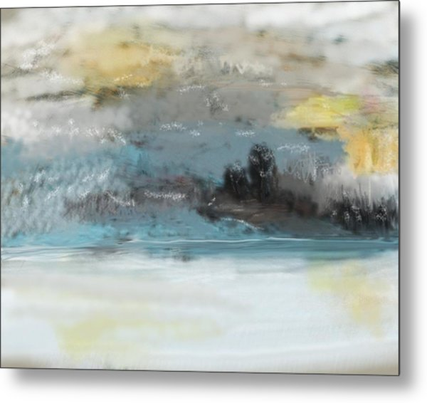 Cold Day Lakeside Abstract Landscape Metal Print