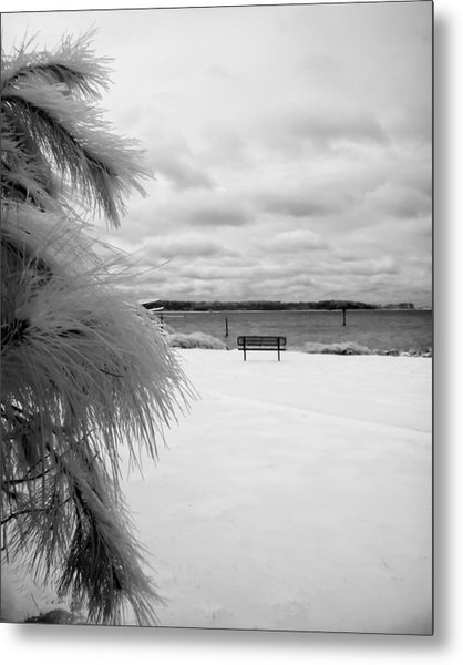 Cold Park Bench Metal Print