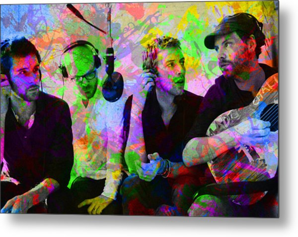 Coldplay Band Portrait Paint Splatters Pop Art Metal Print