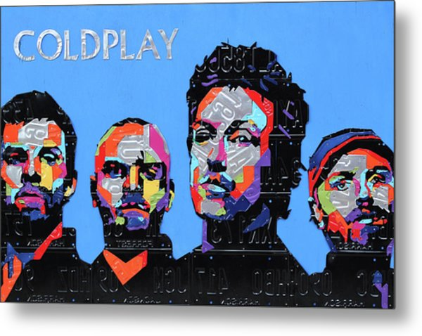 Coldplay Band Portrait Recycled License Plates Art On Blue Wood Metal Print