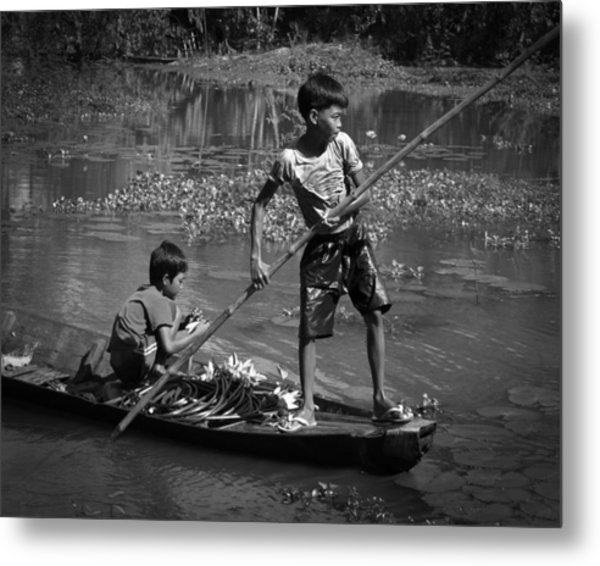 Collecting Water Lilies Metal Print