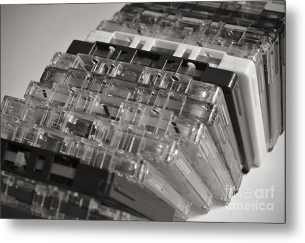 Collection Of Audio Cassettes With Domino Effect Metal Print