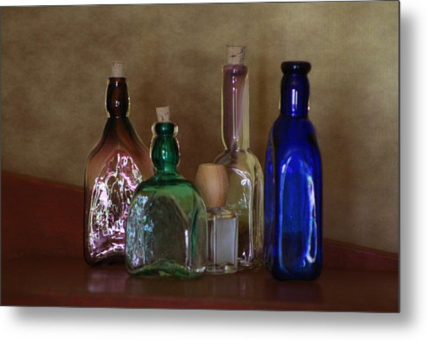 Collection Of Vintage Bottles Photograph Metal Print