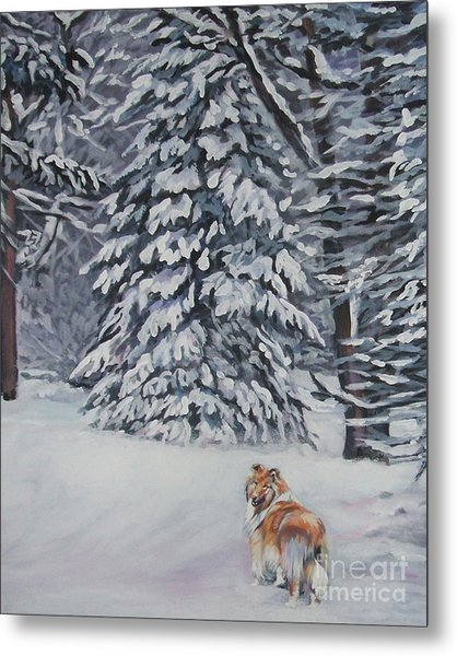 Collie Sable Christmas Tree Metal Print