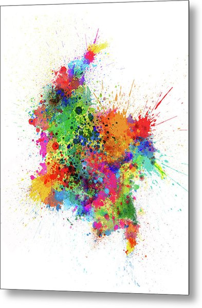 Colombia Paint Splashes Map Metal Print