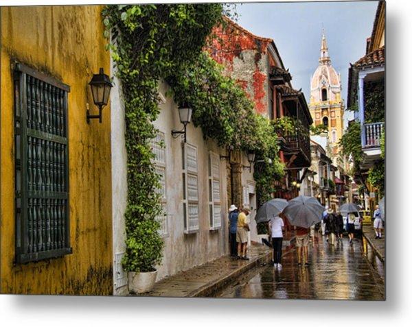 Colonial Buildings In Old Cartagena Colombia Metal Print