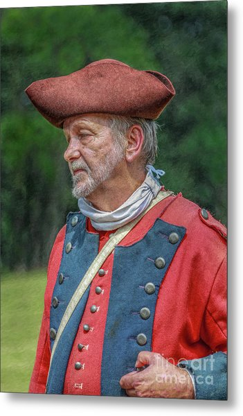 Colonial Soldier Portrait Metal Print by Randy Steele