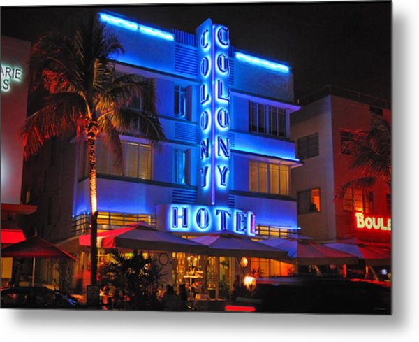 Colony Hotel On Ocean Drive Metal Print