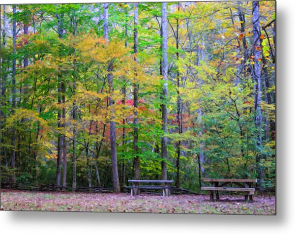 Color Benches Metal Print