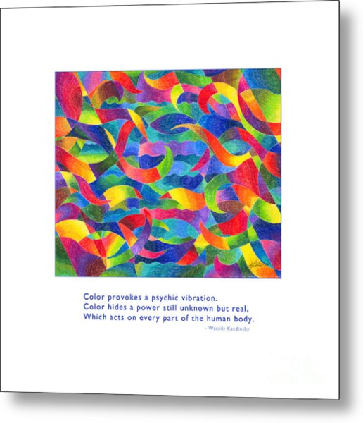 Metal Print featuring the drawing Color Provokes Psychic Vibration by Kristen Fox