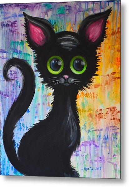 Color Rain And A Cat Metal Print