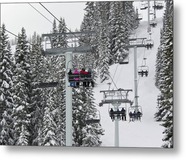 Colorado Chair Lift During Winter Metal Print
