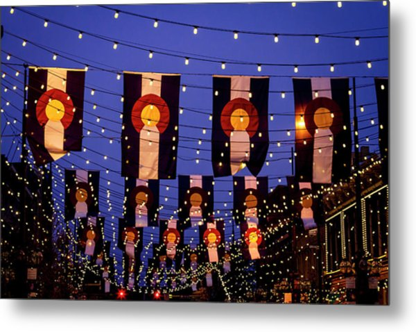 Colorado Flags On Larimer Square Denver Metal Print