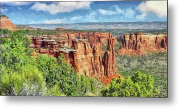 Metal Print featuring the digital art Colorado National Monument 1 by Digital Photographic Arts