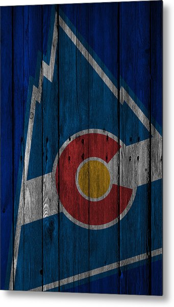 Colorado Rockies Wood Fence Metal Print