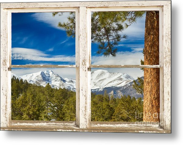 Colorado Rocky Mountain Rustic Window View Metal Print