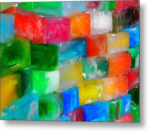 Colored Ice Bricks Metal Print