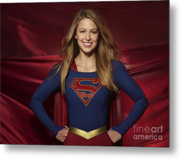 Colored Pencil Study Of Supergirl - Melissa Benoist Metal Print