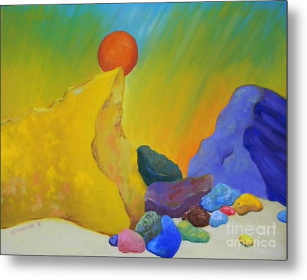 Colored Rocks In Sand Metal Print by Emily Michaud