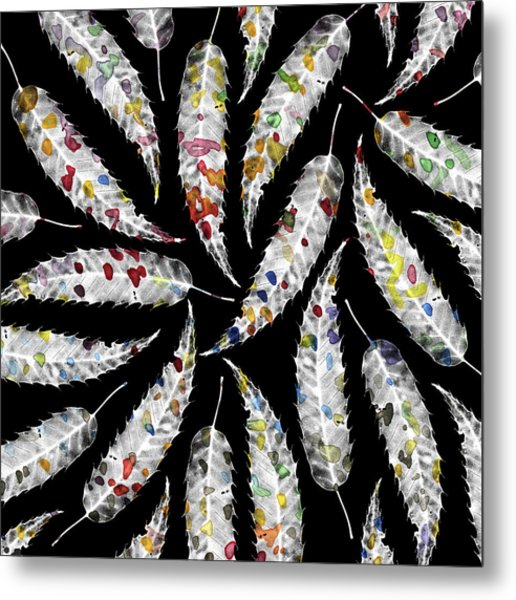 Colorful Black And White Leaves Metal Print