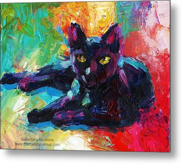 Colorful Black Cat Painting By Svetlana Metal Print
