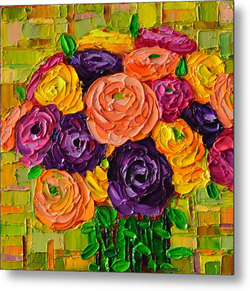 Colorful Buttercups Modern Impressionist Flowers Palette Knife Oil Painting By Ana Maria Edulescu Metal Print