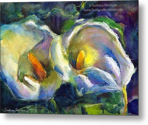 Colorful Calla Flowers Painting By Metal Print by Svetlana Novikova