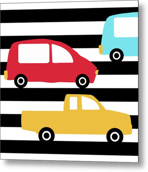 Colorful Cars- Art By Linda Woods Metal Print