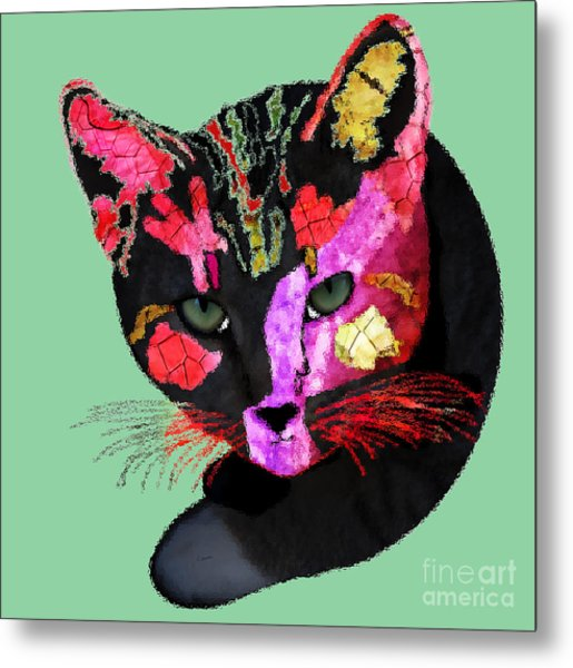 Colorful Cat Abstract Artwork By Claudia Ellis Metal Print
