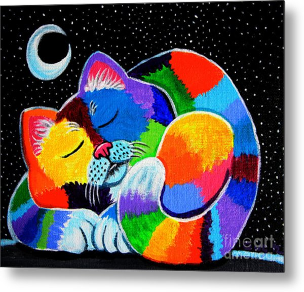 Colorful Cat In The Moonlight Metal Print