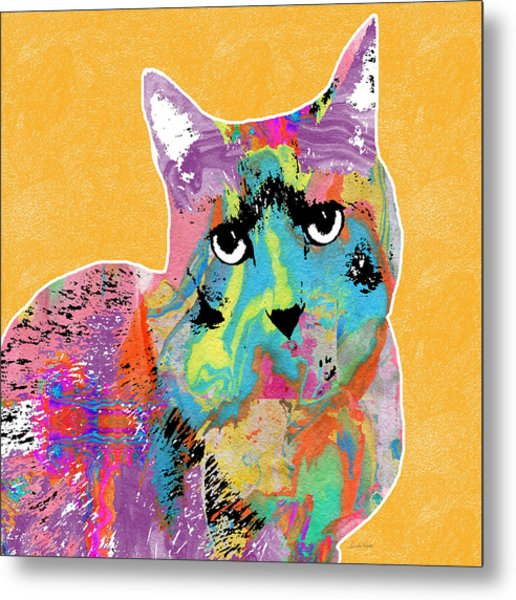Colorful Cat With An Attitude- Art By Linda Woods Metal Print