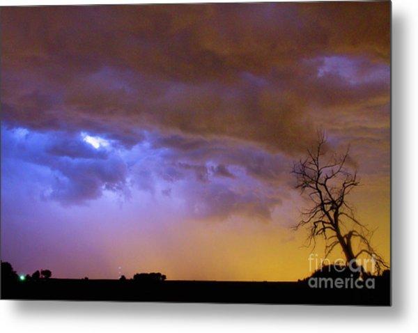 Colorful Cloud To Cloud Lightning Stormy Sky Metal Print